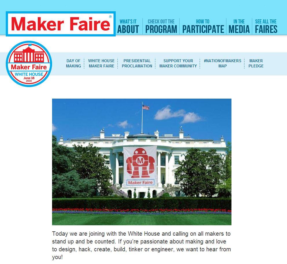 Maker faire website homepage screenshot