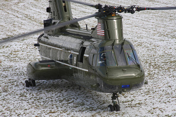 Close up of helicopter