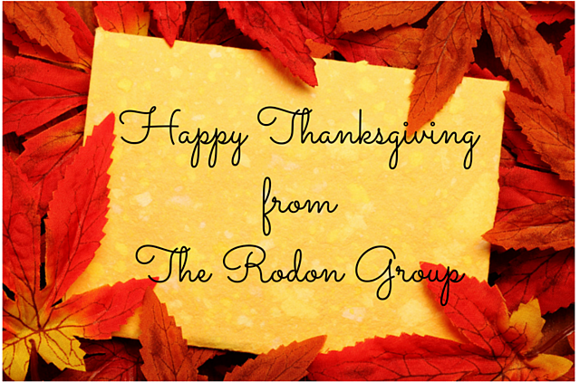 Happy Thanksgiving from The Rodon Group written in cursive surrounded by fall leaves