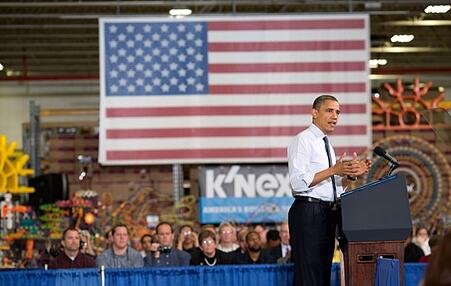 President Obama and The 15 foot K'NEX flag