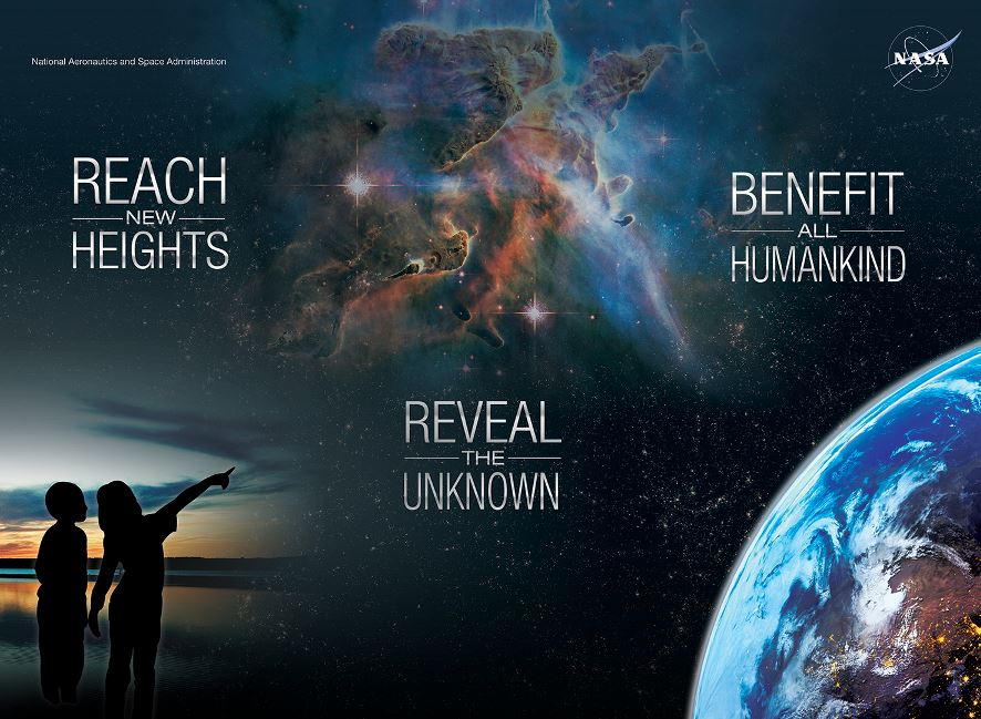 NASA collage graphic of earth from space, the milkyway galaxy, and two shadowed figures on a beach pointing up toward the sky