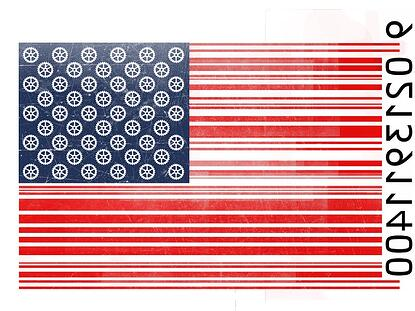 american flag made to look like a serial bar