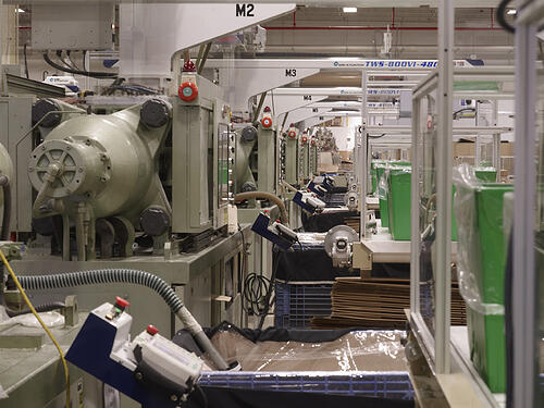 close up of molding machines inside Rodon's facility