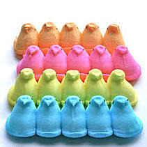 blue, yellow, pink, and orange marshmellow peeps