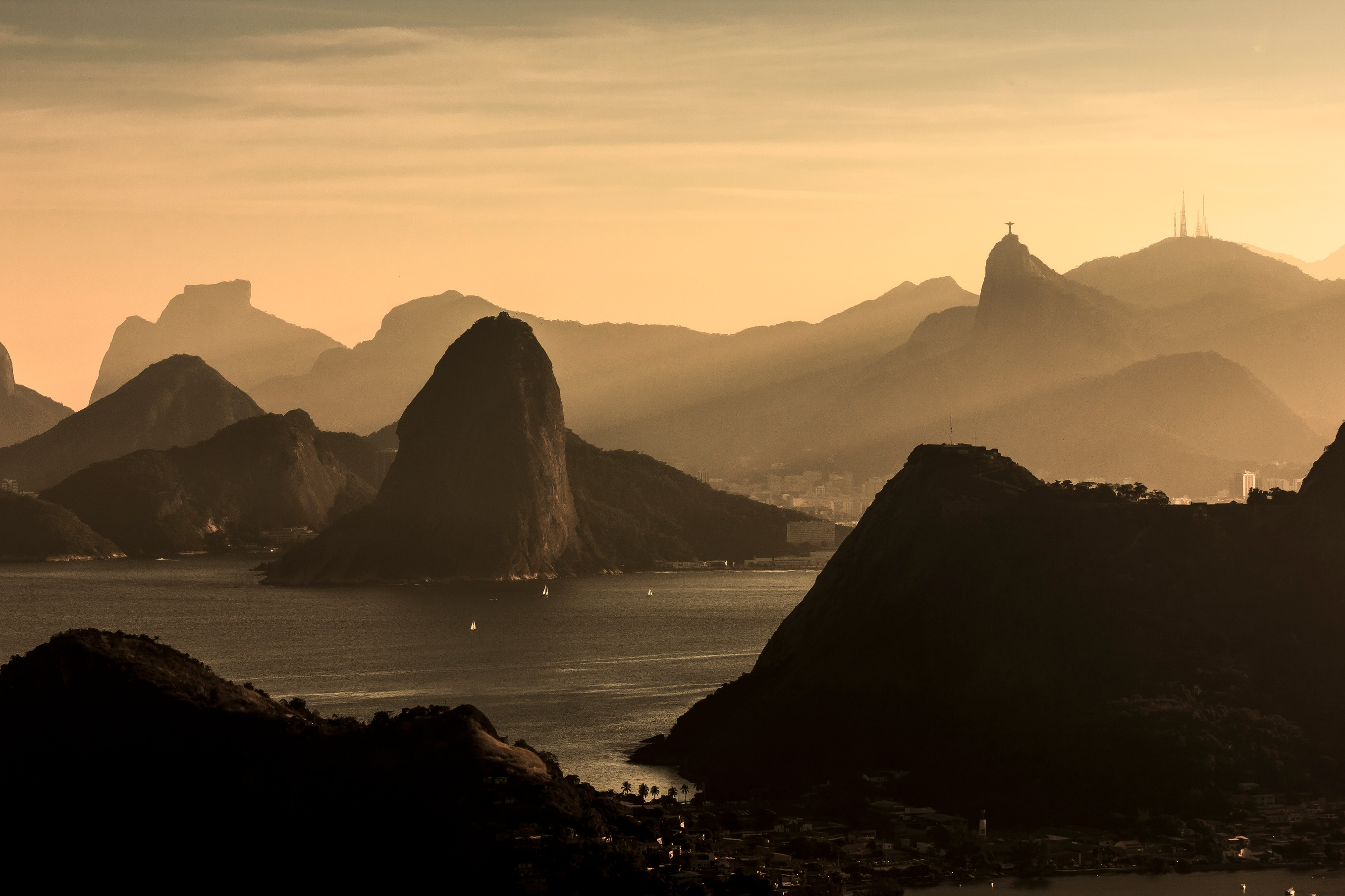 Overhead view in Rio de Janeiro of mountains and water at sunrise/sunset
