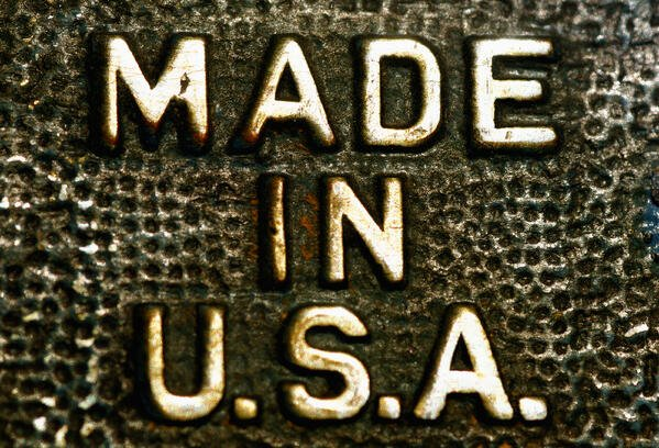 Made in U.S.A. Raised letters on Metal